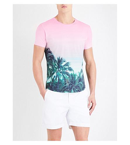 ORLEBAR BROWN Palms Aplenty cotton T-shirt (Pink+grn