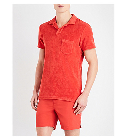 ORLEBAR BROWN Riviera cotton terry-towelling polo shirt (Burnt+orange