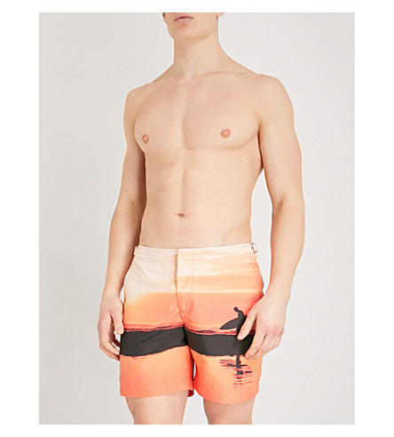 ORLEBAR BROWN Bulldog printed swim shorts (Orange