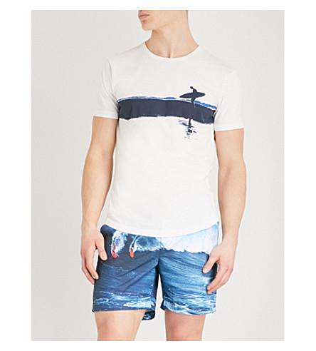 ORLEBAR BROWN Surfer-print cotton-jersey T-shirt (White+navy