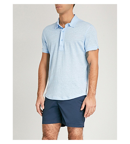 ORLEBAR BROWN Sebastian tailored-fit linen polo shirt (Light+blue