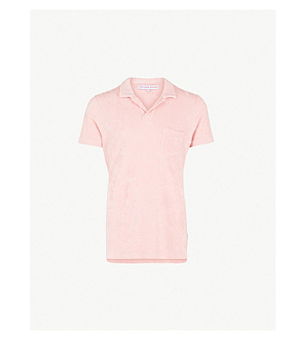 ORLEBAR BROWN Terry cotton-towelling polo shirt (Light pink