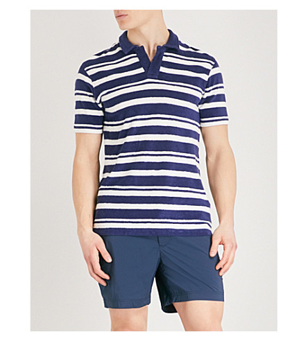 ORLEBAR BROWN Striped towelling polo shirt (Navy+white