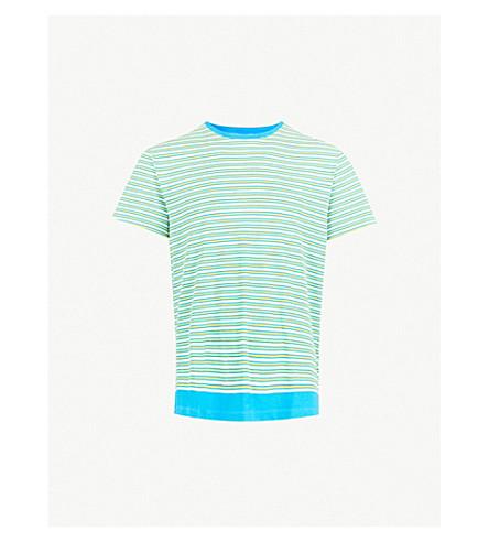 ORLEBAR BROWN Striped-pattern cotton-linen blend T-shirt (Yellow/blue