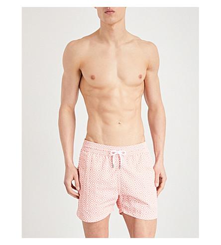 FRESCOBOL CARIOCA Diamond-print sports swim shorts (Coral