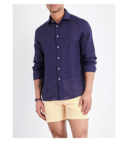 FRESCOBOL CARIOCA Regular-fit linen shirt (Midnight+blue