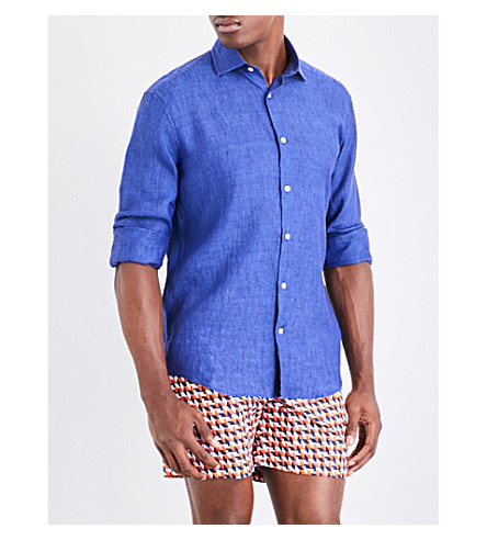 FRESCOBOL CARIOCA Regular-fit linen shirt (Navy
