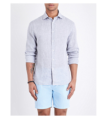 FRESCOBOL CARIOCA Regular-fit linen shirt (Melange+grey