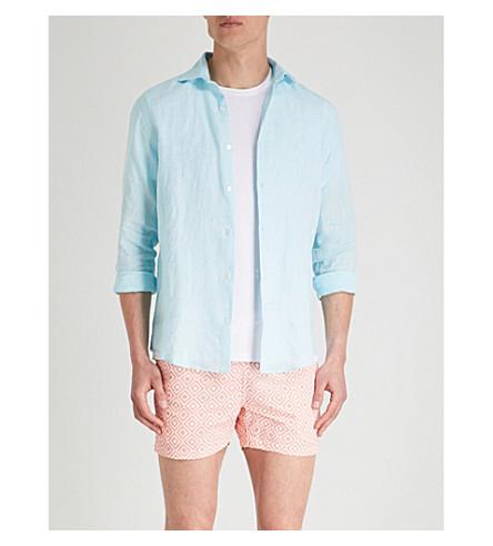 FRESCOBOL CARIOCA Regular-fit linen shirt (Aqua