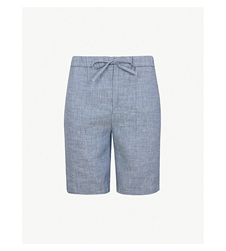 FRESCOBOL CARIOCA Drawstring tailored linen and cotton-blend shorts (Navy melange