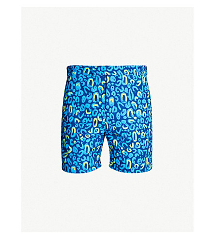 FRESCOBOL CARIOCA Guarana tailored swim short (Navy/ lemon yellow