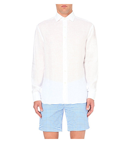 FRESCOBOL CARIOCA Regular-fit single-cuff linen shirt (White