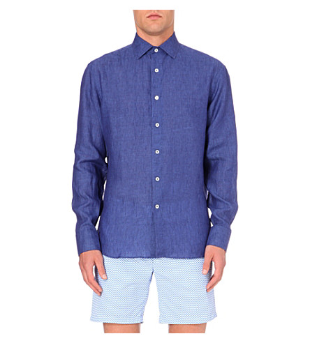 FRESCOBOL CARIOCA Regular-fit single-cuff linen shirt (Navy+blue