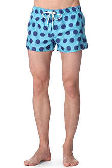 OILER & BOILER Shortie Tuckernuck polka dot-print swim shorts