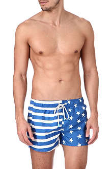 OILER & BOILER Tuckernuck Shortie stars and stripes-print swim shorts