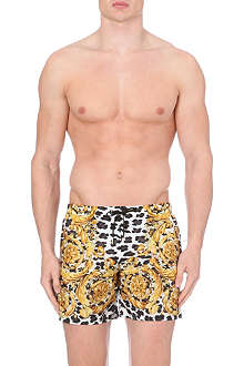 VERSACE Baroque leopard swim shorts