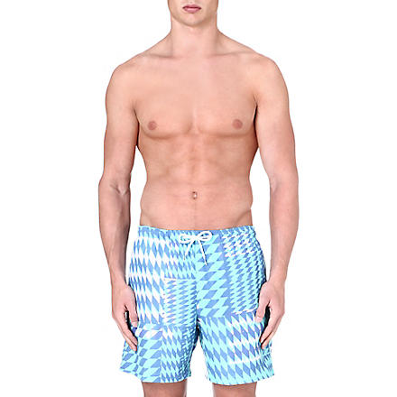 FRANKS Diamond-print swim shorts (Aqua