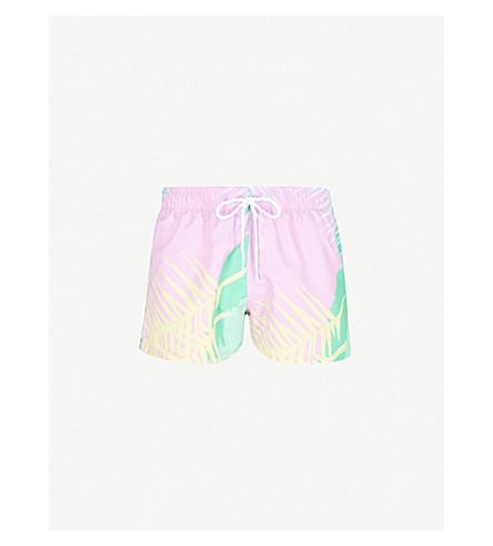 BOARDIES Palm Shortie swim shorts (Pink+green+blue