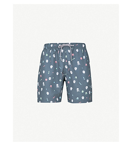 BOARDIES Day of the Dead-print swim shorts (Navy/multi