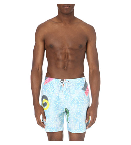 BOARDIES Clippy printed mid-lenth swim shorts (Blue+multi