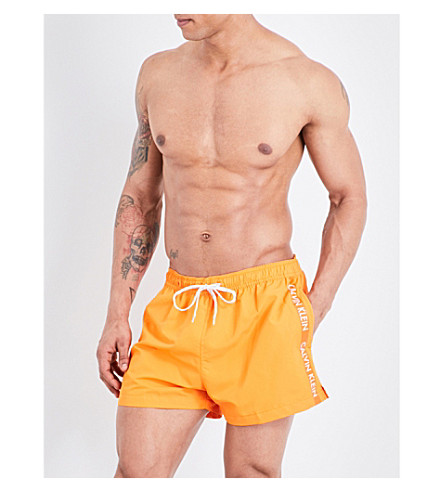 CALVIN KLEIN Logo-print crepe swim shorts (Orange+popsicle