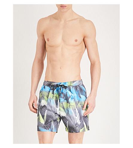 CALVIN KLEIN Leaf-print swim shorts (Green+multi