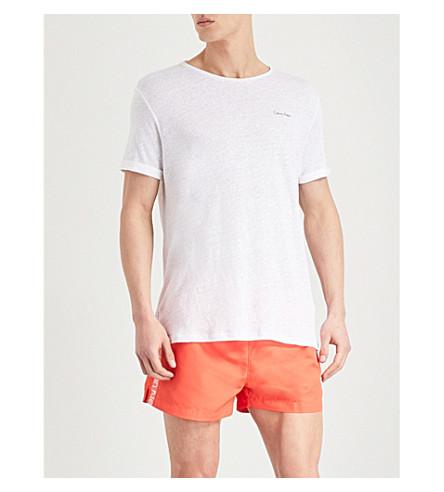 CALVIN KLEIN Logo-print linen T-shirt (White