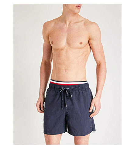 TOMMY HILFIGER Striped-trim relaxed-fit swim shorts (Navy