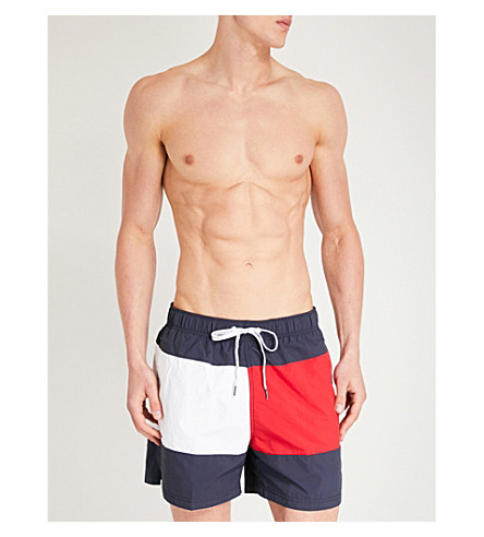 TOMMY HILFIGER Flag-print relaxed-fit swim shorts (Navy red