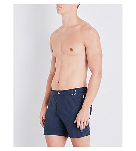 DAN WARD Logo detail mid-length swim shorts (Navy