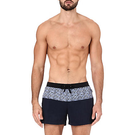 DAN WARD Contrast print panel swim shorts (Navy