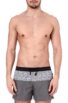 DAN WARD Contrast print panel swim shorts