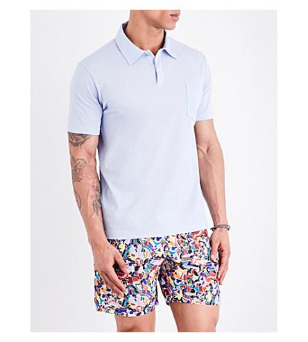 LA PERLA Patch-pocket cotton-piqué polo shirt (Lt+blue