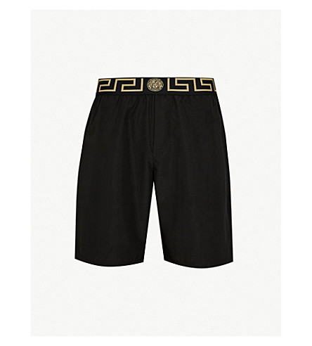 VERSACE Iconic long swim shorts (Black