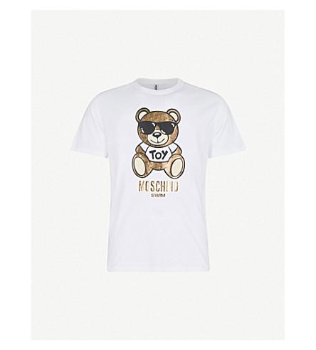 MOSCHINO 金属熊平纹针织棉 T 恤 (白色