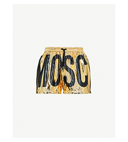MOSCHINO Logo foiled swim shorts (Gold