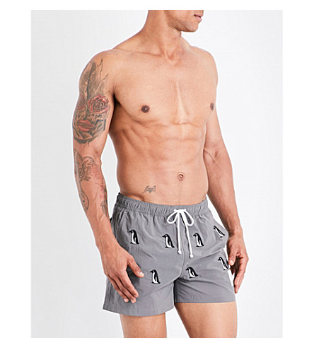 THOM BROWNE Penguin-print swim shorts (Grey