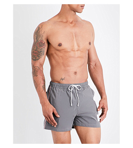 THOM BROWNE Stripe-print swim shorts (Grey