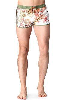 DIESEL Leaf print swim shorts