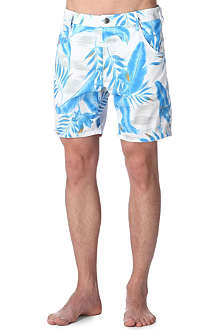 DIESEL Leaf-print swim shorts