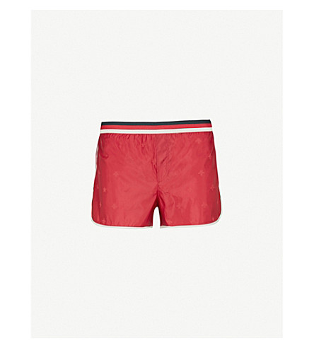 GUCCI Striped bee-jacquard swim shorts (Red
