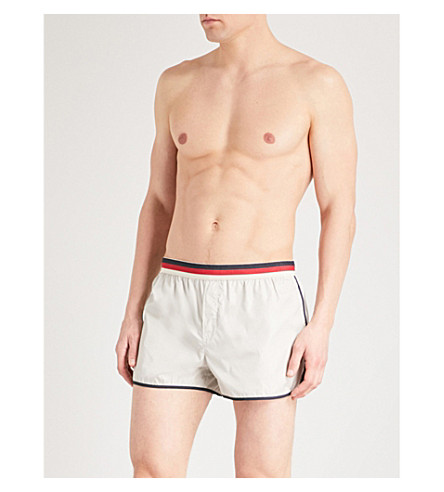 GUCCI Striped-trim swim shorts (Ivory
