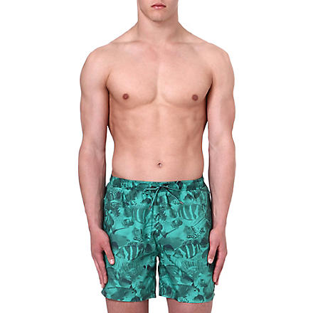 HUGO BOSS Piranha print swim shorts (Green