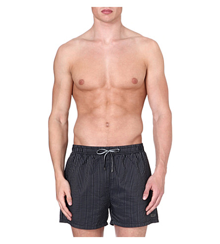 HUGO BOSS Vertical stripe swim shorts (Black
