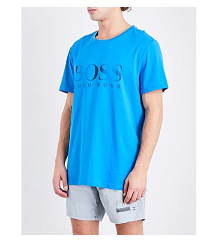 BOSS Logo Sun Protection cotton T-shirt (Brt+blue