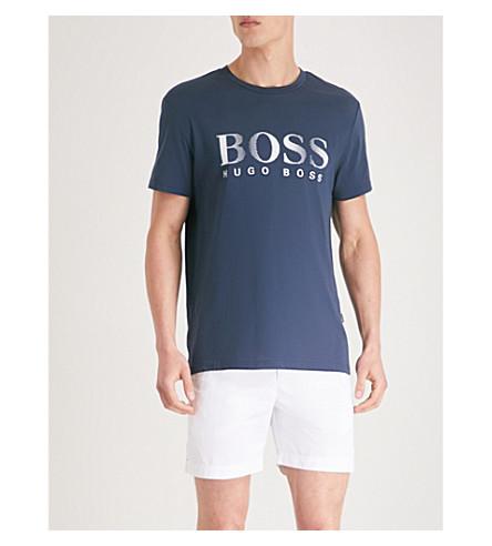 BOSS 标志太阳保护棉 T 恤 (海军