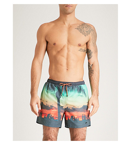 BOSS Shark Attack swim shorts (Green+orange