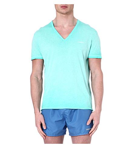 D SQUARED V-neck splatter-detail t-shirt (Green