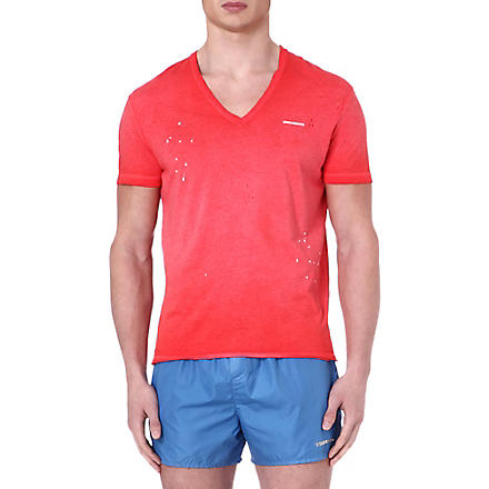 D SQUARED V-neck splatter-detail t-shirt (Red