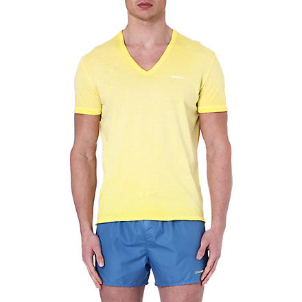 D SQUARED V-neck splatter-detail t-shirt (Yellow